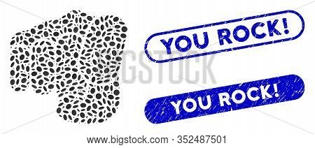 Mosaic Only You And Rubber Stamp Seals With You Rock Exclamation Caption. Mosaic Vector Only You Is