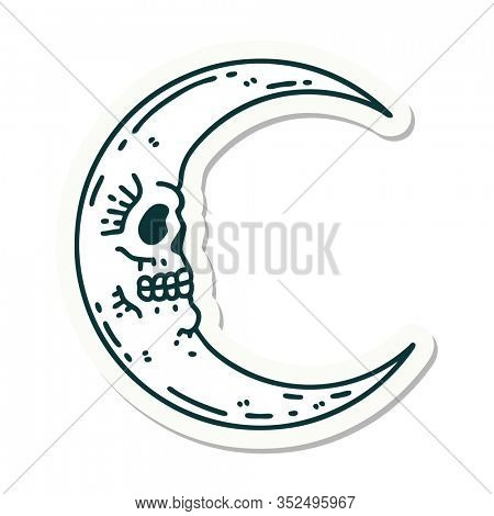 sticker of tattoo in traditional style of a skull moon