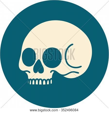 iconic tattoo style image of a skull