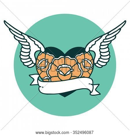 iconic tattoo style image of a flying heart with flowers and banner
