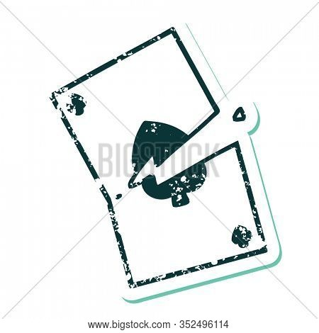 iconic distressed sticker tattoo style image of a torn card
