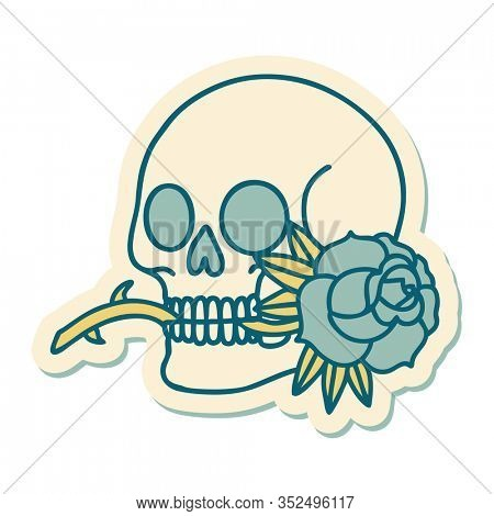 sticker of tattoo in traditional style of a skull and rose