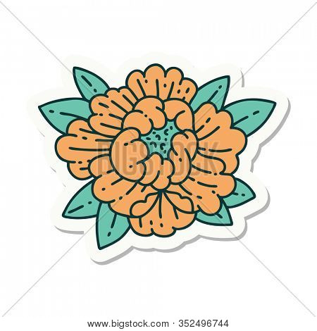 sticker of tattoo in traditional style of a blooming flower