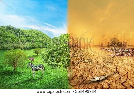 Global Warming And Human Waste ,pollution Concept - Sustainability.  Showing The Effect Of Arid Land