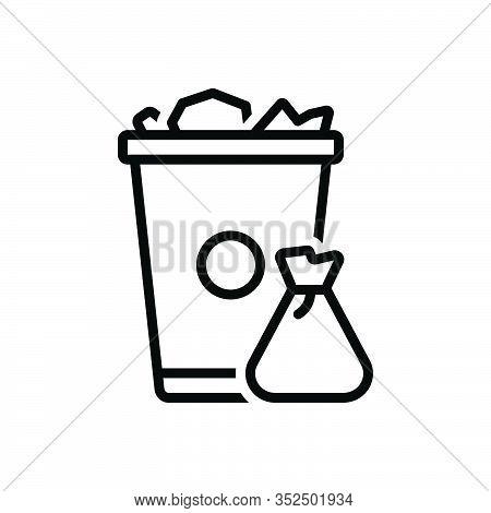Black Line Icon For Garbage Trash-can Trash Can Waste Basket Container Junk Debris Detritus Rubbish