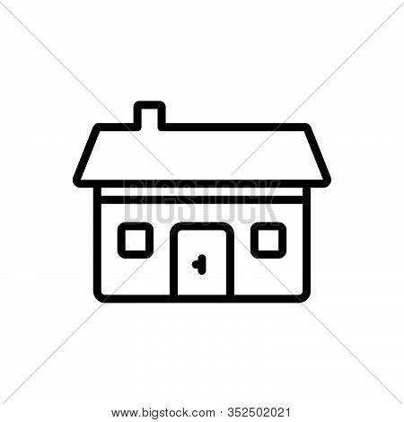 Black Line Icon For Residential Dwelling Abode Habitation Building Architecture House Estate Apartme