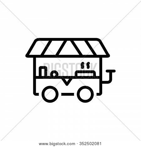Black Line Icon For Street-food Street Food Food-truck Pantry Barbecue Hawker Delicious Food Fast-fo