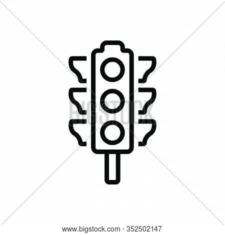 Black Line Icon For Traffic-light  Stoplight Semaphore Regulation Crosswalk Signal Control Sign Safe
