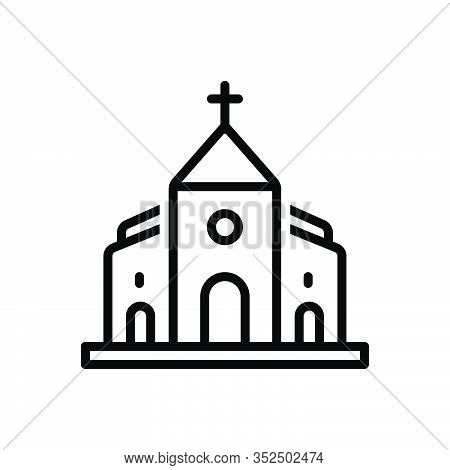 Black Line Icon For Church Belief Believe Bible Faith Holy Building Cathalic Religion Traditional
