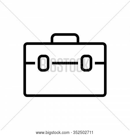Black Line Icon For Suitcase Travel-bag Valise Portmanteau Vanity-case Baggage Handbag Access Journe