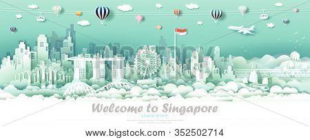 Vector Illustration Tour Downtown Singapore With Singapore Flag, Travel Skyline Singapore Architectu