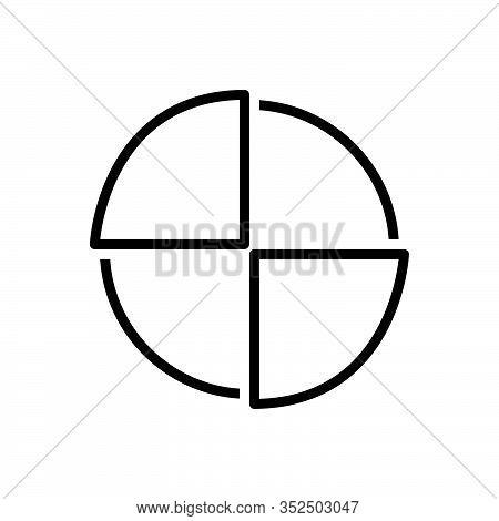Black Line Icon For Piechart Diagram Blueprint Ground-plan Layout Chart Draft Circular Graph Infroga