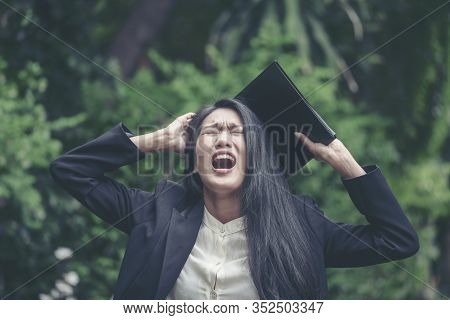 Stress Business Woman Shocked And Scream After Got Bad Frustrated  Unacceptable Business News. Insul