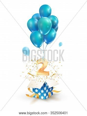 Open Textured Gift Box With Number 2 Flying On Balloons. Greeting For Second Anniversary Isolated Ve