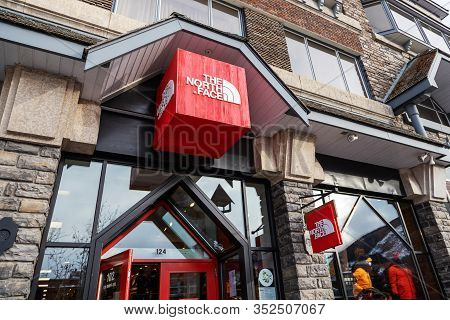 Banff, Canada - Feb 15, 2020 : Famous American Outdoor Recreation Retailer The North Face Shop With