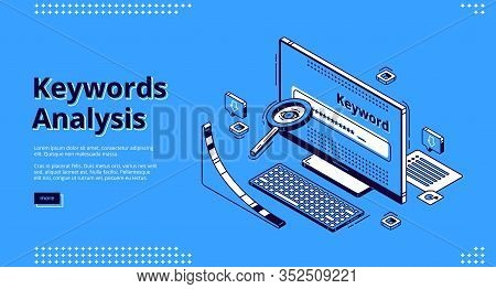 Keyword Analysis Isometric Landing Page. Seo Keywording Process Research Tool Magnifying Glass, Long