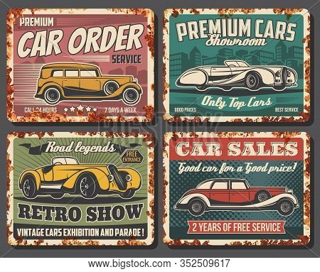 Retro Cars Vector Vintage Rusty Metal Plates. Rarity Classic Cars Museum Exhibition And Old Transpor