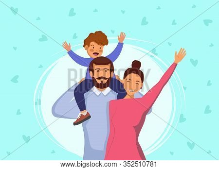 Happy young family. Dad, mom, and son together. Vector illustration in cartoon style Happy International Father's Day. Dad. Father's Day. Father's Day background. Fathers Day poster. Fathers Day illustration. Fathers Day banners. Fathers day Vectors. Fath