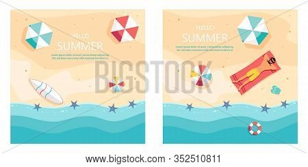 Set of summer gift certificates.Hello Summer, summer time, summer day, summer day background, summer banners, summer flyer, summer design, summer with people in the pool, vector illustration. Eps10 vector illustration