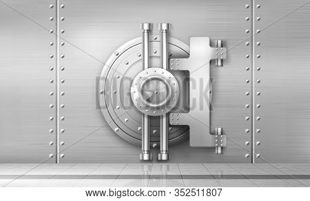 Bank Safe And Vault Door, Metal Steel Round Gate Mechanism In Empty Bunker Room With Tiled Floor And
