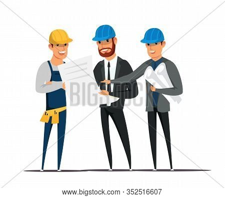 Foreman And Architects Flat Vector Illustration. Contractors Showing Site Engineer Building Plans An