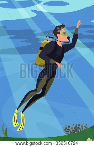 Scuba Diver Flat Vector Illustration. Diving, Snorkeling, Ocean Marine Life And Sea Bottom Researchi