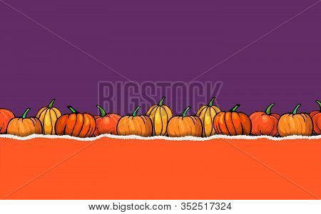 Halloween Purple And Orange Color Torn Paper Backround With Pumpkins Border. Banner Or Poster For Ha
