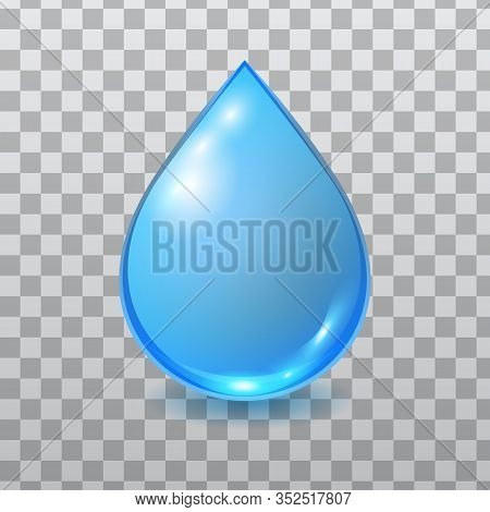 Vector Blue Water Drop Isolated On Checkered Background. Falling Clean Teardrop. 3d Realistic Illust