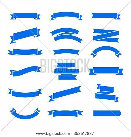 Flat Vector Ribbons Banners Isolated Background. Ribbon Blue Colored. Set Ribbons Or Banners. Vector