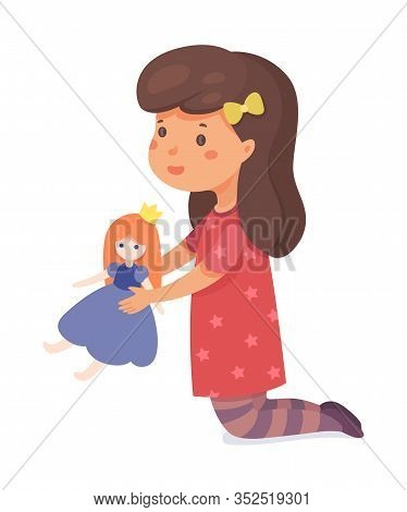 Girl Playing With Toy Flat Vector Illustration. Smiling Little Child Holding Princess Doll Cartoon C