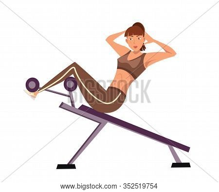 Sportswoman Doing Sit Ups Flat Vector Illustration. Young Woman In Sportswear Cartoon Character. Fem