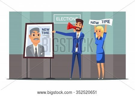 Promo Campaign Presentation Flat Illustration. Marketer Holding Loudspeaker And Pointing At Board Wi
