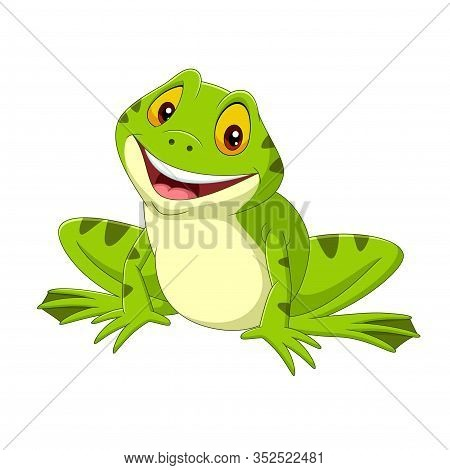 Vector Illustration Of Cartoon Happy Frog On White Background
