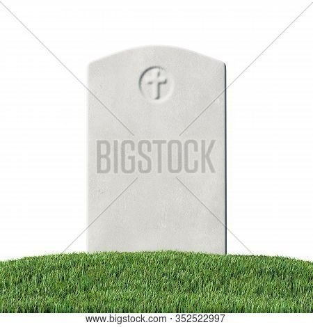 Gray Blank Gravestone On Green Grass Field Graveyard In Memorial Day Under Sun Light Isolated On Whi