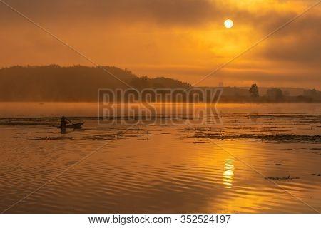 Morning Nature Scene, Sky, Clouds And Fog (mist) On The Lake ,sunrise Shot