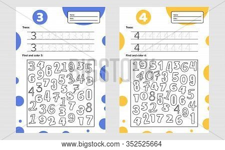 Educational Worksheet For Preschool And School Kids. Number Game For Children. Trace, Find And Color