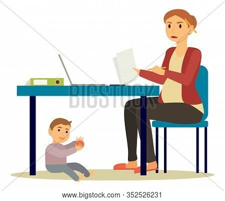 Pregnant Woman Working From Home. Isolated Expectant Mother Staying On Maternity Leave Busy With Pap