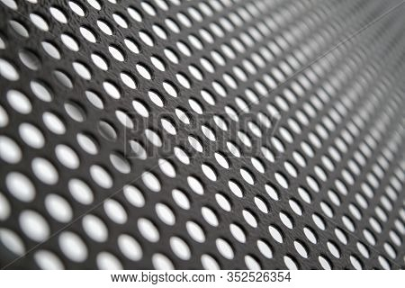 Texture Of Perforated Metal Sheet Abstract Background. Detailed Texture Background Gray Sheet Metal