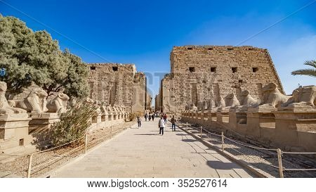 Luxor, Egypt - January 2020: Karnak Temple In Luxor, Egypt. The Karnak Temple Complex, Commonly Know