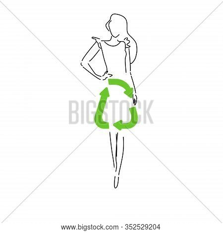 Sustainable Fashion. Silhouet Woman In Outline In Dress With Sign For Recycling. Concept For Sustain