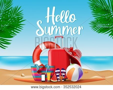Summer Season Vector Concept. Hello Summer Greeting Text With Summer Vacation Travel Elements Of Lug