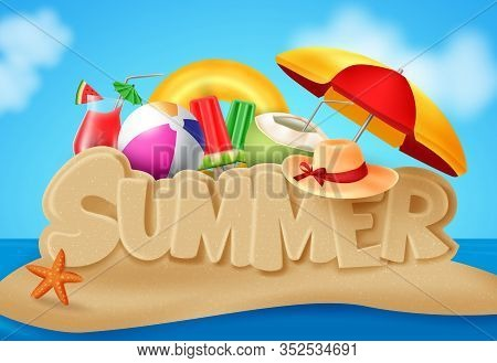 Summer Beach Vector Banner Design. Summer Text In Beach Sand Island Typography With Summer Elements