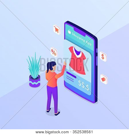 Online Shopping Choose Product Ecommerce Woman Clothes On Smartphone With Isometric Style Vector