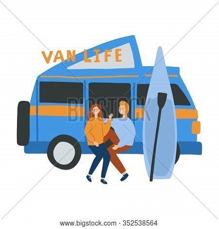 Couple Living In A Campervan. Hand Drawn Vector Flat Illustration. Van Life Concept For Banner, Arti