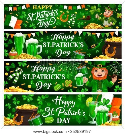 St Patricks Day Green Banners Of Irish Holiday Clovers, Leprechauns With Pot Gold. Vector Shamrock L