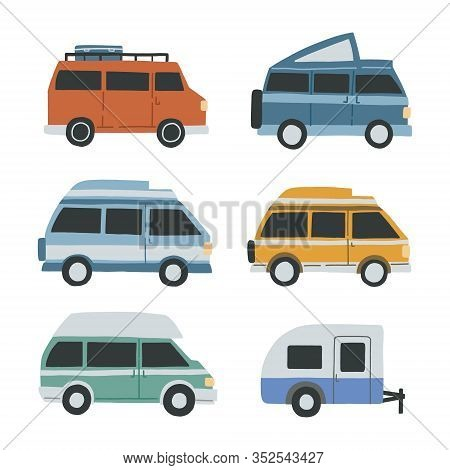 Set Of Differnet Campervans Isolated On White Background