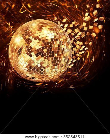 Vintage Disco Mirror Ball Spinning And Breaking Into Golden Flying Glass Pixel Fragments On Dark Bac