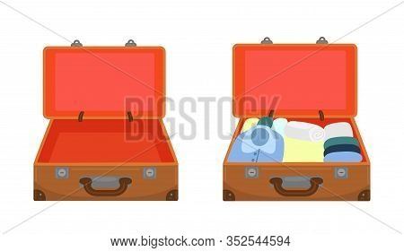 Open Empty Suitcase And Packed Suitcase Isolated On A White Background. Vector Image