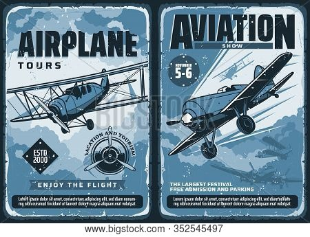 Aviation Show, Custom Airplanes Professional Pilot Flights Festival, Vector Vintage Retro Posters. C