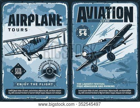 Aviation Show, Custom Airplanes Professional Pilot Flights Festival, Vector Vintage Retro Posters. C